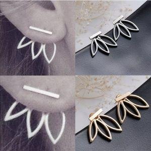 Jewelry - Lotus Flower Peek-a-boo Stud Earrings Gold Silver